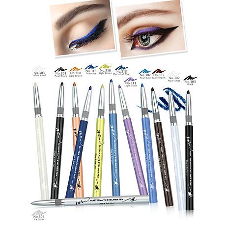 Chì mí kim tuyến Mira Glitter Auto Eyeliner Pen Hàn Quốc No.305 Dark brown tặng kèm móc khoá 3
