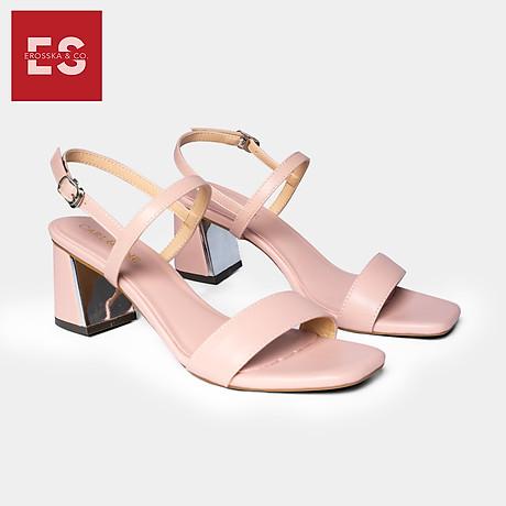 Gia y sandal Erosska thời trang nư mu i vuông phô i quai ngang kiê u da ng đơn gia n cao 7cm CS005 1