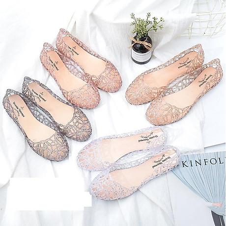 Giày búp bê nữ đế bằng nhựa đi mưa siêu bền đi thoáng và êm chân full size nhiều màu V217 3