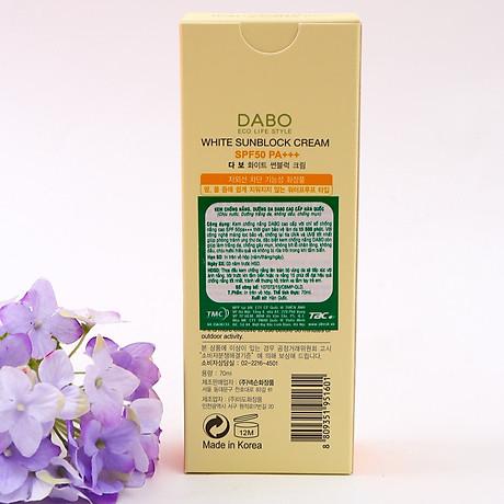 Kem Chống Nắng Dưỡng Da Dabo White Sunblock Cream SPF 50 PA+++ (70ml) - Hàn Quốc Chính Hãng 4