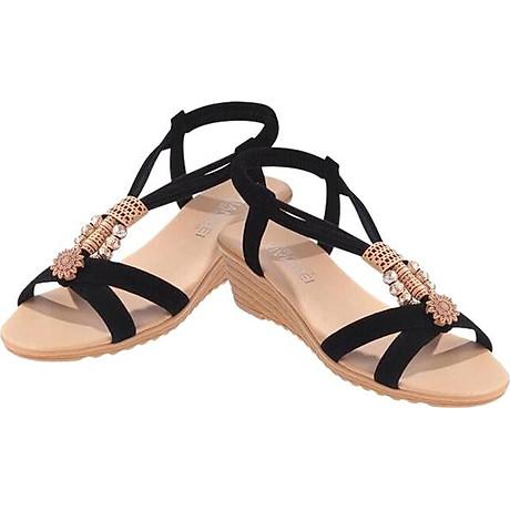 Giày Sandal Đế Xuồng Đính Hạt Hoa Văn - Đen 1