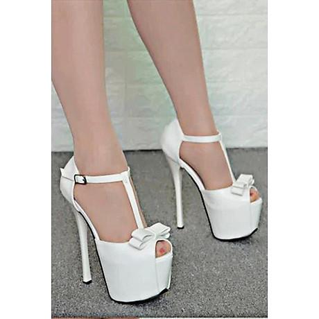 Giày Sandal Cao Gót Đế Kép Đính Nơ 3