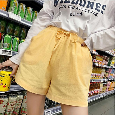 Quần đùi short nữ vải đũi thời trang mát mẻ mùa hè QĐ06 1