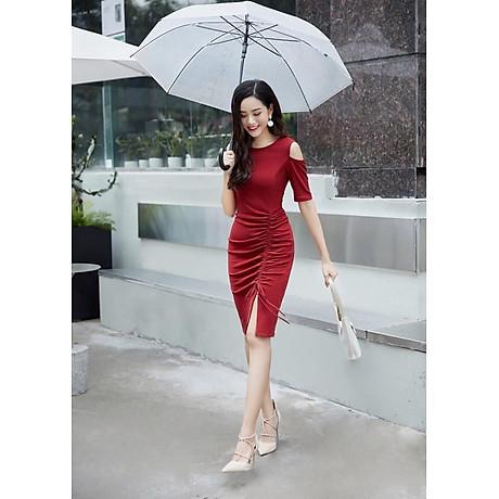 Đầm ôm body màu đỏ thiết kế nhún phần thân cổ điển 2