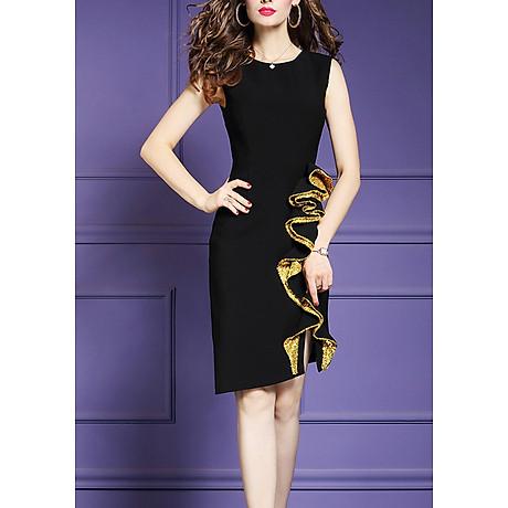 Đầm ôm dự tiệc đủ size kiểu đầm phối cách điệu tà bèo kim sa vàng GOTI3048 6