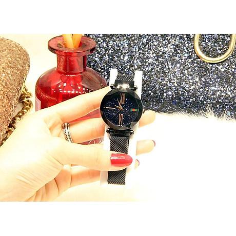 Đồng hồ nữ dây kim loại lưới khóa nam châm mặt tròn đen cá tính ĐHĐ6003 3