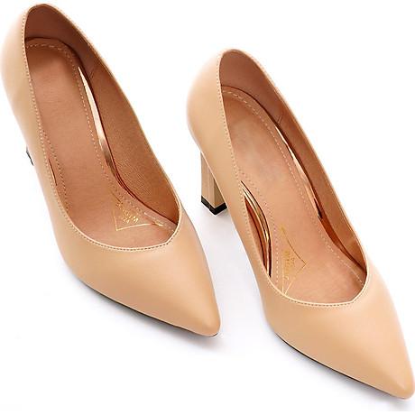 Giày cao gót nữ, cao 9CM, da Microfiber nhập khẩu cao cấp êm ái,. Mũi nhọn, gót trụ B.PG5324.9F 3