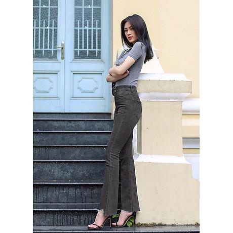 Quần jean nữ ống loe lưng cao lai kiểu 2