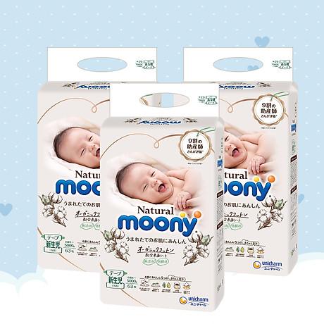 [COMBO 3 BỊCH] Bỉm Dán Moony Natural Newborn 63 1