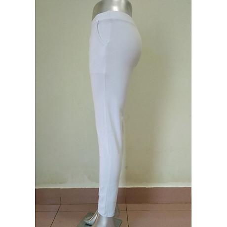 Quần legging nữ màu trắng chất cotton thun 2