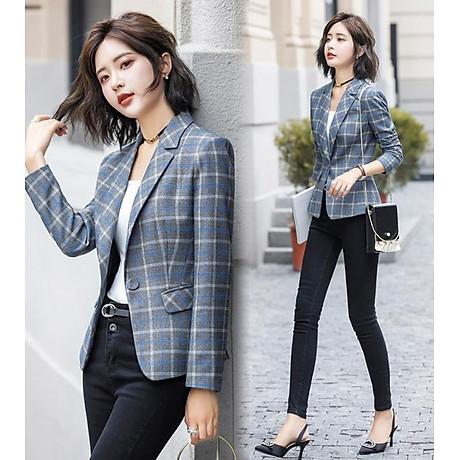 Áo khoác vest nữ caro phong cách Hàn Quốc NA66 3
