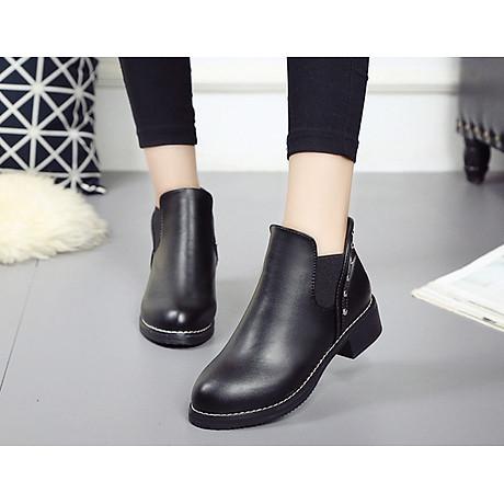 Giày bốt nữ boots chelsea viền đinh đế thấp S046 2