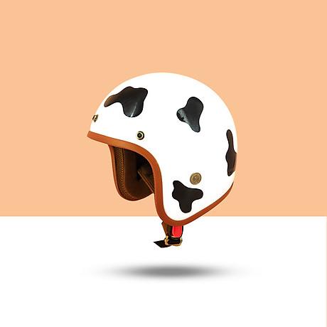 Mũ Bảo Hiểm 3 4 Đầu SRT Tem Bò Sữa Đáng Yêu Lót Nâu Cao Cấp - Tặng Nón Lưỡi Trai 1