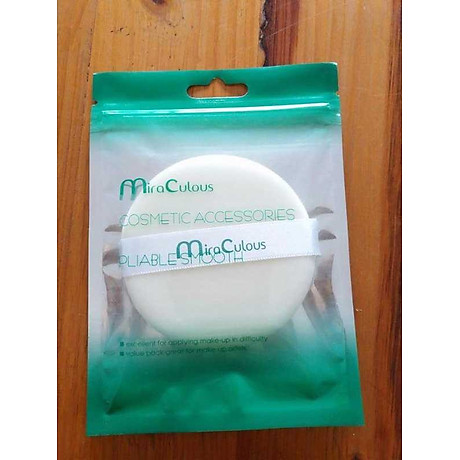 Bông phấn trang điểm tròn khô cotton Mira Culous bịch 1 miếng tặng kèm móc khóa 1 túi - 1 miếng 3