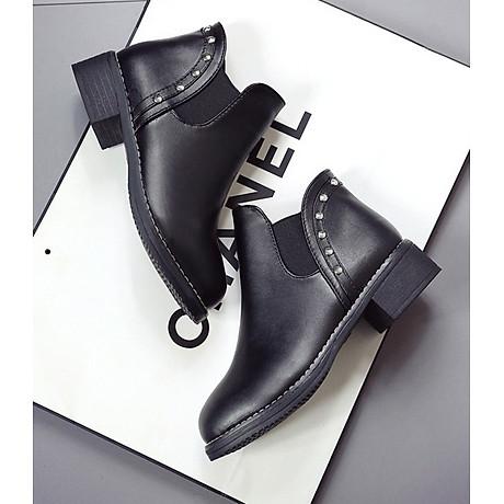 Giày bốt nữ boots chelsea viền đinh đế thấp S046 3