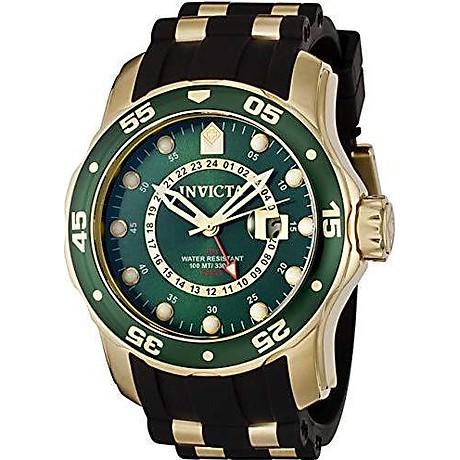 Invicta Men s 6994 Pro Diver Collection GMT Green Dial Black Polyurethane Watch 5