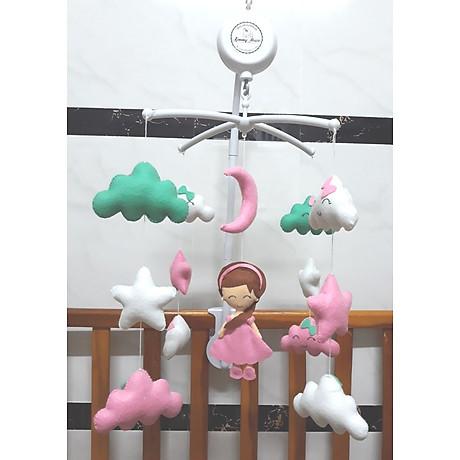 Treo nôi handmade màu sắc công chúa mây xanh ngọc kích thích thị giác cho bé 2