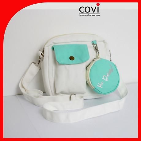 Túi đeo chéo vải canvas phom vuông phối túi tròn trước thời trang COVI nhiều màu sắc T 25 2