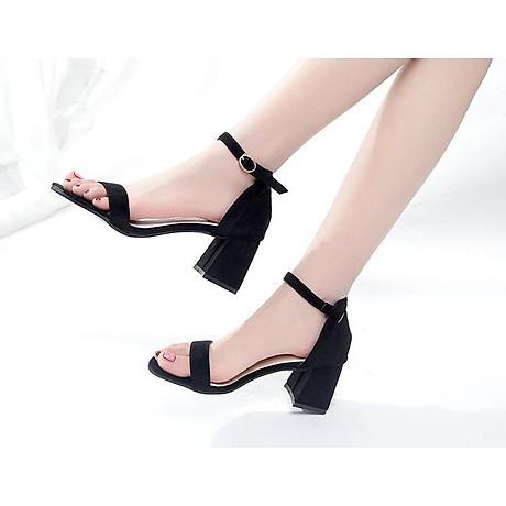 Giày Cao Gót Đế Vuông Quai Ngang Black 4