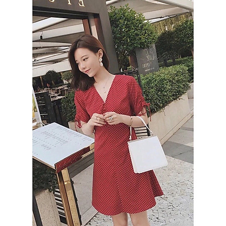 Đầm bi đỏ tay rút 4