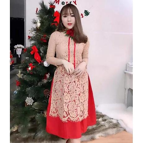 Áo Dài Cách Tân Ren Kèm Váy Diện Tết 2