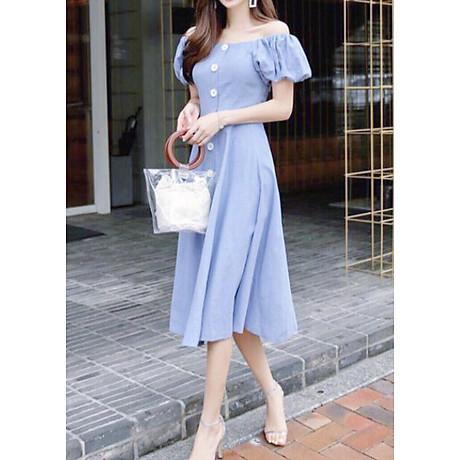 Đầm mila xanh nút trắng form dài 2