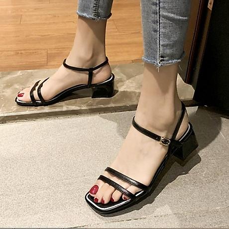 Giày xăng đan nữ quai kép trước gót vuông 5cm quai hậu móc da PU mềm C02 7