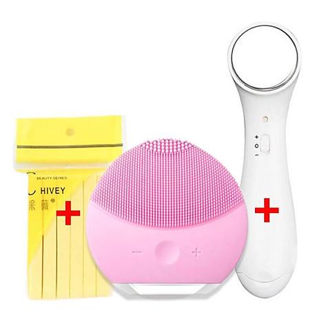 Bộ dụng cụ chăm sóc da mặt đầy đủ 3 món gồm Máy rửa mặt + Mút rửa mặt bọt biển + Máy massage ion đẩy tinh chất - Set chăm sóc da mặt cơ bản giúp cho làn da trở nên tươi tắn và cải thiện đáng kề khi được chăm sóc 2