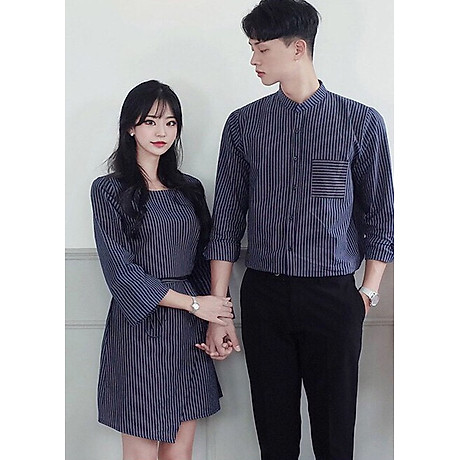 Bộ áo váy sơ mi cặp cao cấp, đồ đôi thời trang thiết kế nam nữ chất đẹp AV173 1