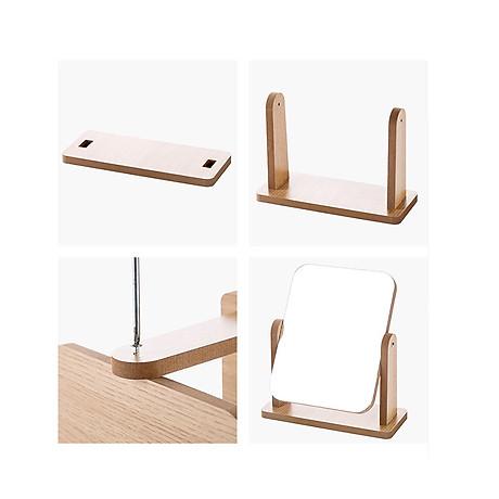 Gương trang điểm cao cấp chất liệu gỗ ép, điều chỉnh góc nhìn 360 độ loại lớn 4