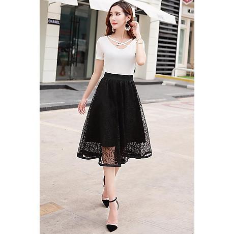 Chân váy ren dáng xòe 2 lớp dày đẹp thời trang Hàn Quốc DVCV18 3