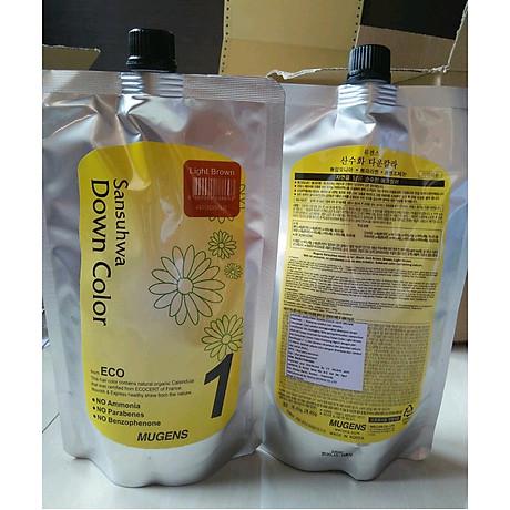 Thuốc nhuộm tóc phủ bạc Mugens Sansuhwa Color Hàn Quốc Số 2 Nâu Đen Dark Brown 2x450ml + Móc khóa 6