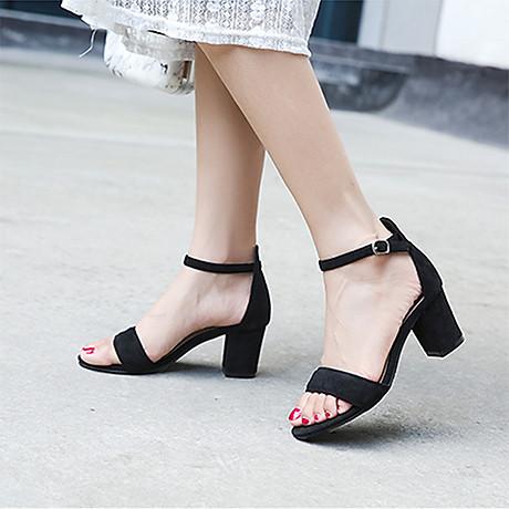 Giày cao gót 7 phân màu đen chất da lộn đế vuông quai ngang bản nhỏ 4