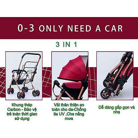 Xe đẩy cho bé HUAYING ,Xe đẩy em bé 2 chiều 3 tư thế màu đỏ,màu xanh,màu kaki,màu hồng 4