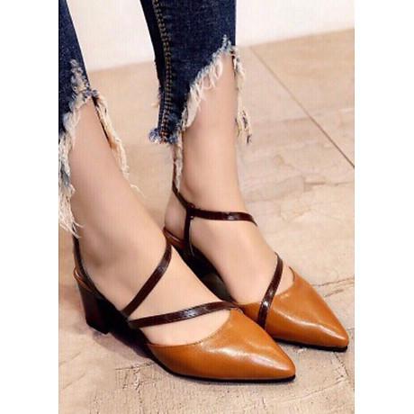 Giày cao gót 5cm dây chéo phối màu thời trang 1