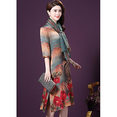 Đầm Suông BigSize Cổ Trụ In Họa Tiết Hoa Và Cá Kiểu Đầm Suông Trung Niên Dự Tiệc Size Lớn ROMI 1521D 6