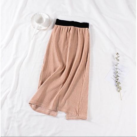Chân váy bút chì chất gấm nhung tăm mềm mịn cạp lưng thấp co giãn xẻ tà sau 5
