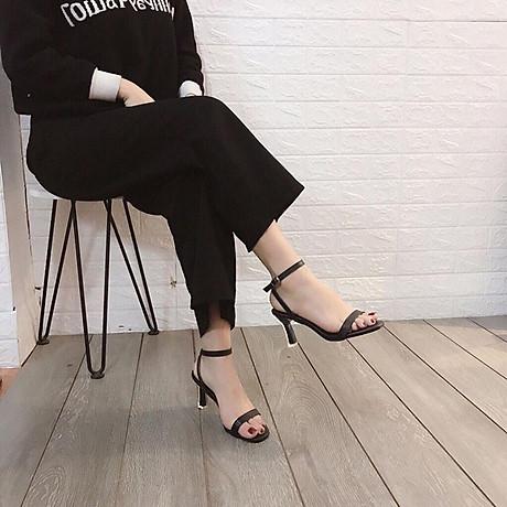 Sandal quai ngang gót mika bọc viền pha lê cực sang-sandal nữ, sandal nữ cao gót, sandal cao gót, sandal-gót mika bọc viền pha lê, 7cm 1