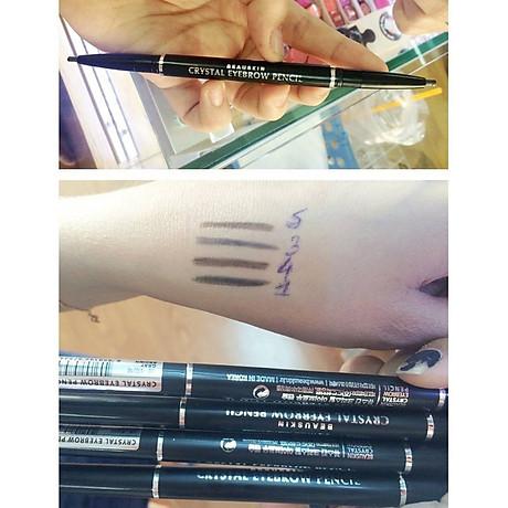 Chì kẻ chân mày Beauskin Crystal Eyebrow Pencil Hàn Quốc 01 Black tặng móc khóa 4