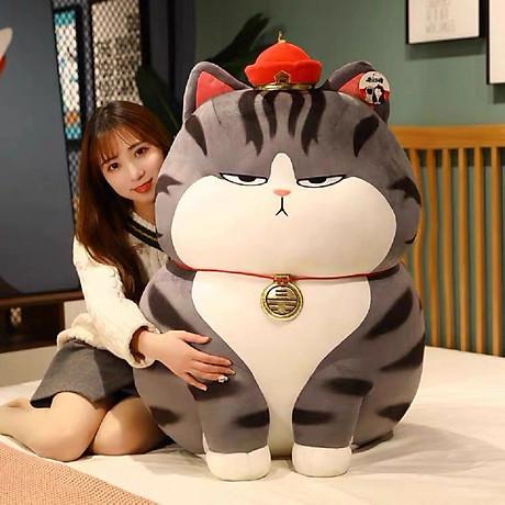 Gấu bông mèo hoàng thượng siêu to khổng lồ, gấu bông mèo hoàng thượng cao cấp vải nhung co giãn 4 chiều 1