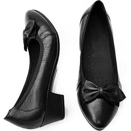 Giày Cao Gót Nữ Đế Vuông Cao 3cm Da Thật Siêu Mềm Evelynv 3P05DTP (Đen) 7