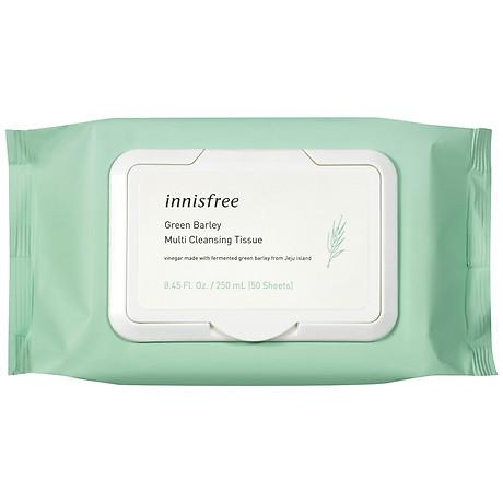 Khăn Ướt Tẩy Trang Đa Năng Hương Lúa Mạch Innisfree Green Barley Cleansing Tissue (50 Tờ) - 131170963 1