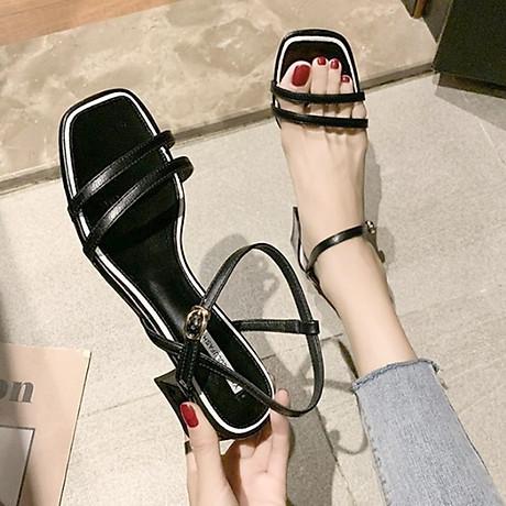 Giày xăng đan nữ quai kép trước gót vuông 5cm quai hậu móc da PU mềm C02 6