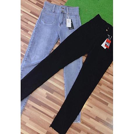 Quần jean nữ lưng cao ôm body 2 túi trước vải mềm co giãn hình thật 6