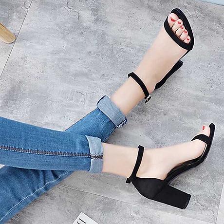 Giày cao gót 7 phân màu đen chất da lộn đế vuông quai ngang bản nhỏ 2