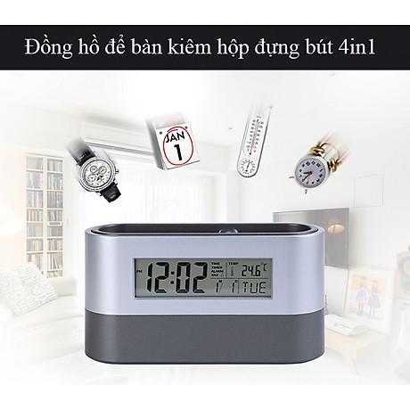 Hộp đựng bút kiêm đồng hồ để bàn V3 (Tặng kèm quạt mini cắm cổng USB vỏ nhựa giao màu ngẫu nhiên) 5