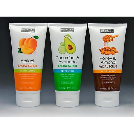 Sữa rửa mặt Beauty Formulas Cucumber & Avocado Facial Scrub 150ml - tẩy tế bào chết tinh chất dưa leo 6