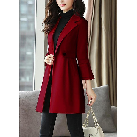 Áo khoác dáng dài kiểu áo khoác kaki măng tô phối tay loe tầng ROMI 3106 1