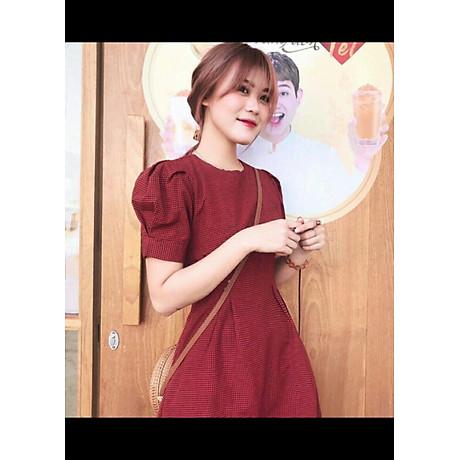 Đầm Caro Đỏ Tay Xếp Li Form Dài 1