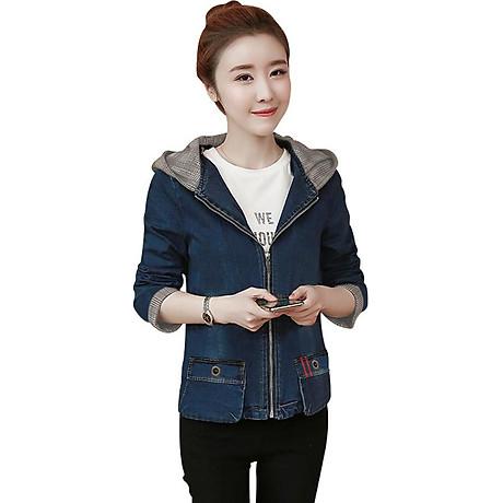 Áo khoác jean nữ viền sọc có nón 1